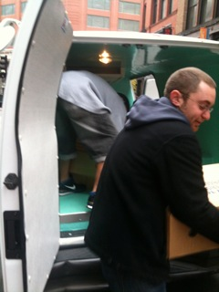 Our Haulmaster Ben unloading turkeys at BRM